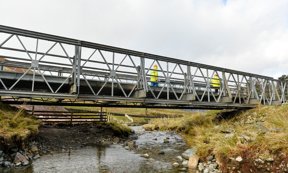 Thirlmere emergency temporary installed after a storm destroyed an old bridge