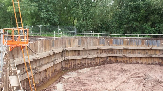 sheet pile wall with stair ladder platform and edge protection