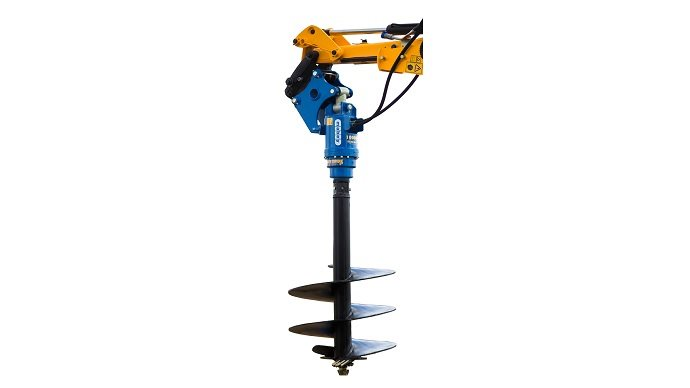 Excavated Mounted Auger attached to an excavator arm to drive into stiff ground