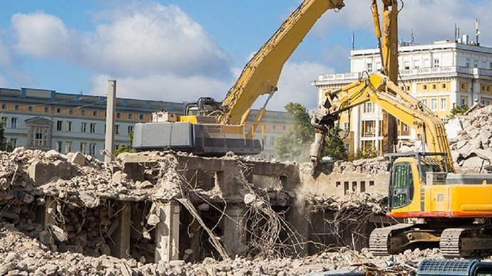 Environmental monitoring on a demolition construction site