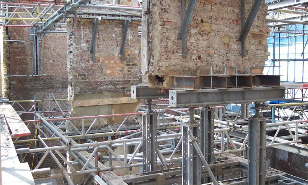 Mass 25 configuration supporting important structural brickwork from collapsing