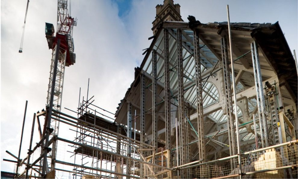 System 160 helping keep walls and roof from falling while building refurbishment and strengthening takes place