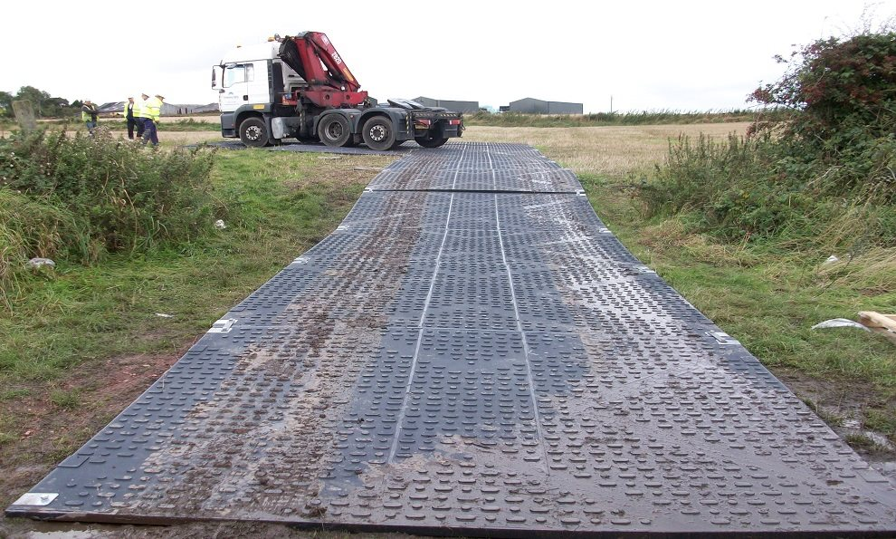 Tufftrak road mats on mud for HGV vehicles