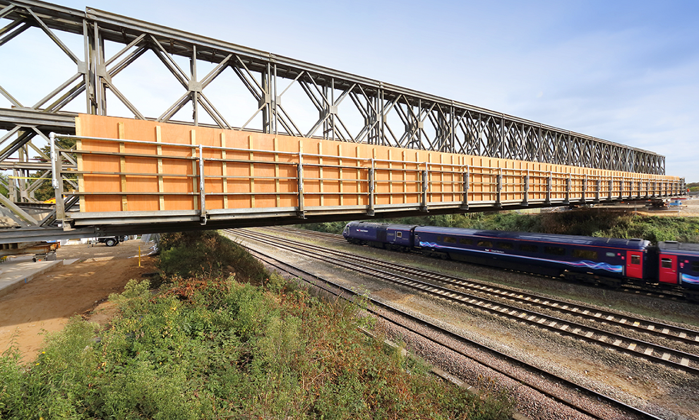 Mabey Universal temporary bridge over a railway