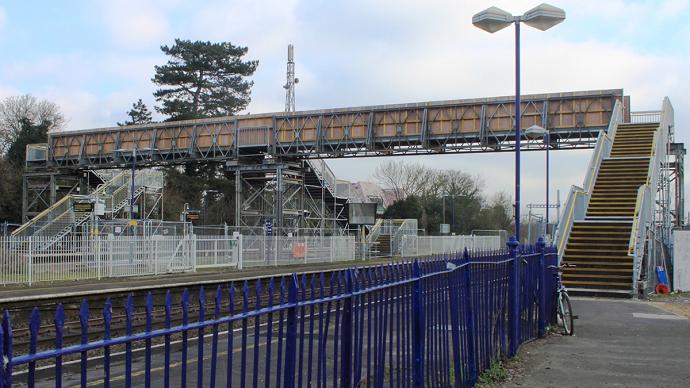 Temporary pedestrian bridge over a railway line